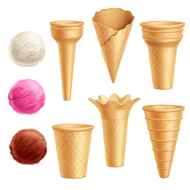 Conjunto de ícones de sorvete Vetor grátis