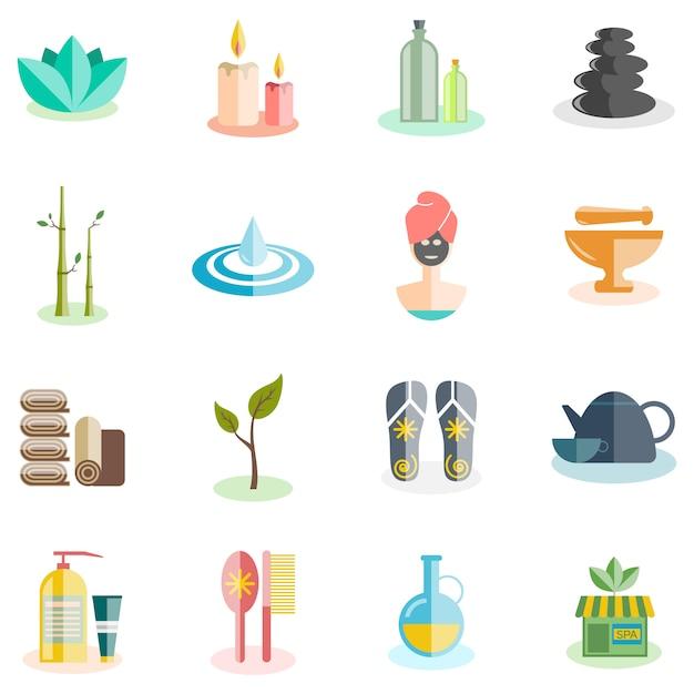 Conjunto de ícones de spa Vetor grátis