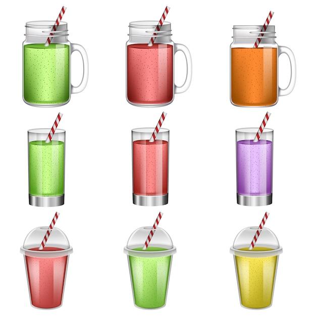 Conjunto de ícones de suco de fruta batido Vetor Premium
