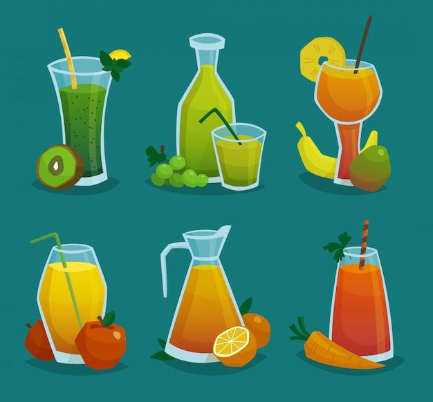 Conjunto de ícones de suco e frutas frescas Vetor grátis