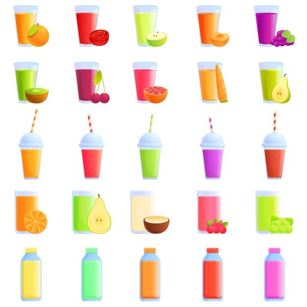 Conjunto de ícones de suco fresco, estilo cartoon Vetor Premium
