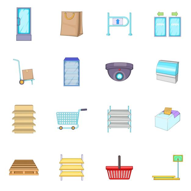 Conjunto de ícones de supermercado Vetor Premium