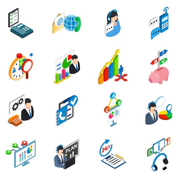 Conjunto de ícones de suporte de serviço Vetor Premium