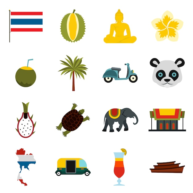 Conjunto de ícones de tailândia, plana ctyle Vetor Premium
