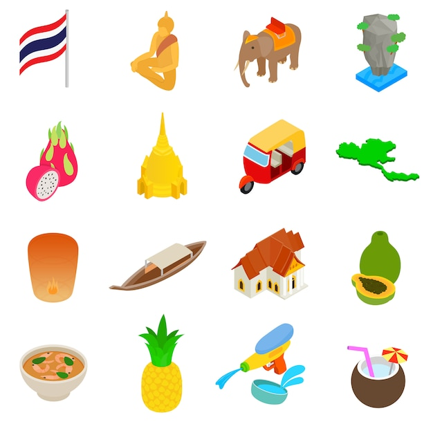 Conjunto de ícones de tailândia Vetor Premium