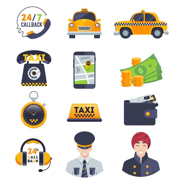 Conjunto de ícones de táxi plana com motorista de ordem isolado no branco Vetor Premium