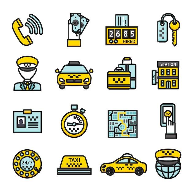 Conjunto de ícones de táxi Vetor Premium