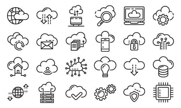Conjunto de ícones de tecnologia de nuvem, estilo de estrutura de tópicos Vetor Premium