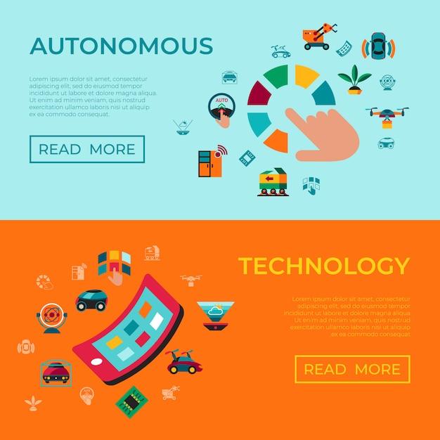 Conjunto de ícones de tecnologia de transporte autônomo Vetor Premium