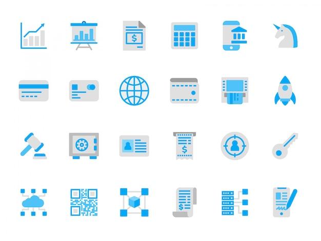Conjunto de ícones de tecnologia financeira em cores planas Vetor Premium
