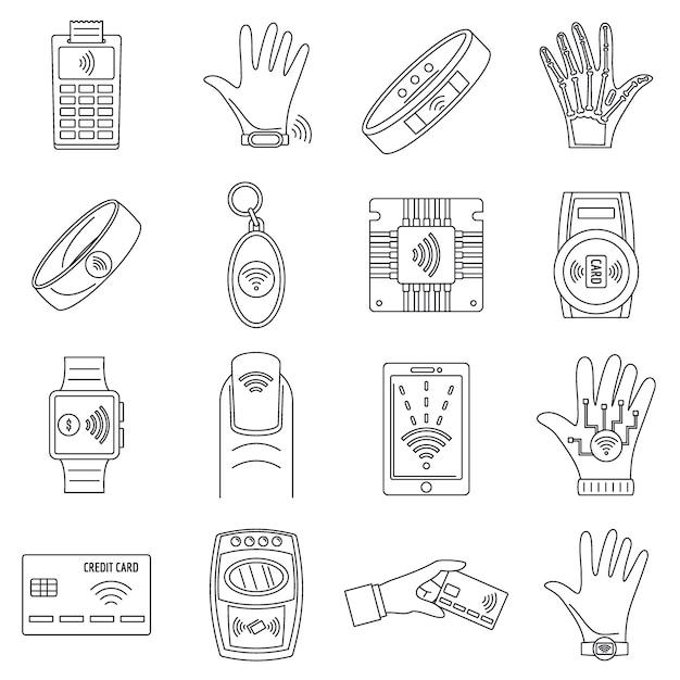 Conjunto de ícones de tecnologia nfc inteligente Vetor Premium