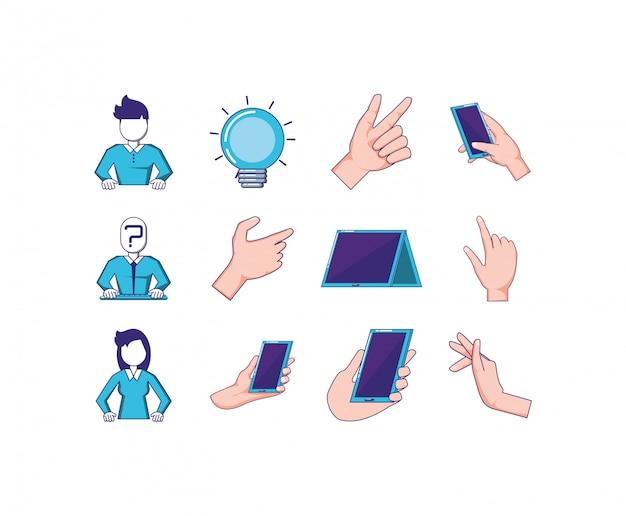 Conjunto de ícones de tecnologia Vetor Premium