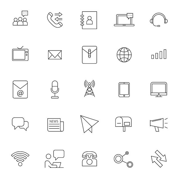 Conjunto de ícones de telecomunicação de telefone com contorno simples Vetor Premium