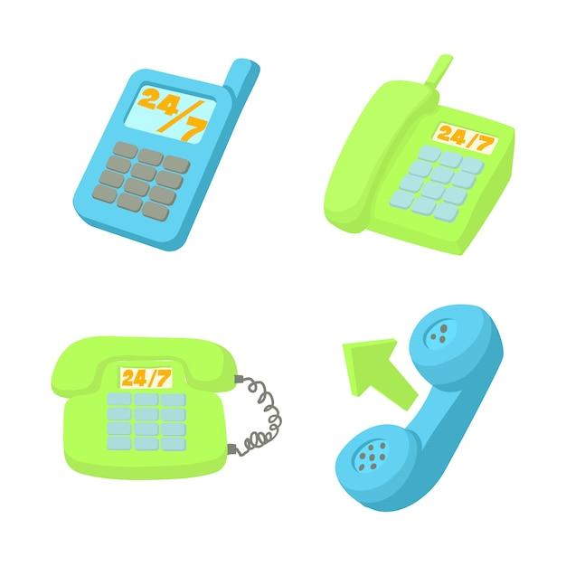 Conjunto de ícones de telefone Vetor Premium