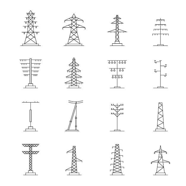 Conjunto de ícones de tensão de torre elétrica Vetor Premium