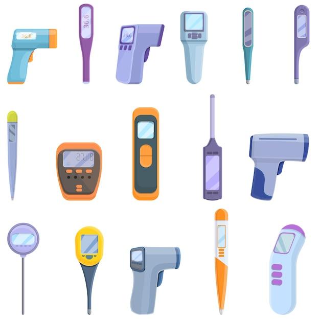 Conjunto de ícones de termômetro digital. conjunto de desenhos animados de ícones de termômetro digital para web Vetor Premium