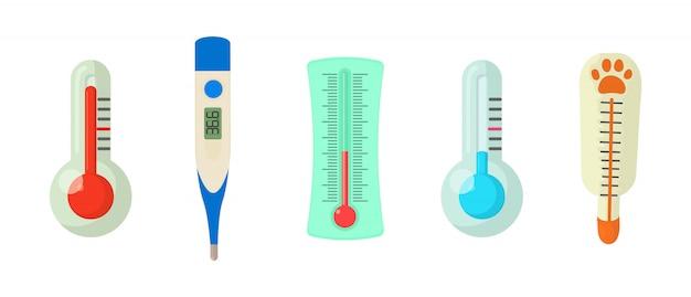 Conjunto de ícones de termômetro Vetor Premium