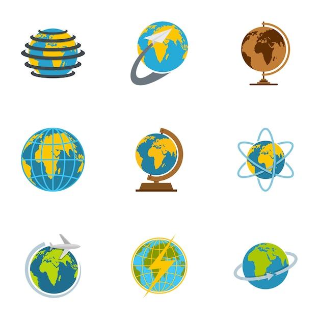 Conjunto de ícones de terra, estilo simples Vetor Premium