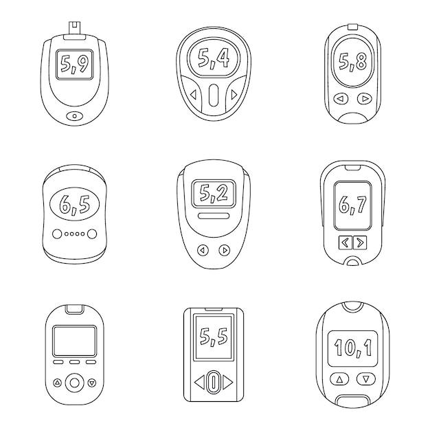 Conjunto de ícones de teste de açúcar de medidor de glicose Vetor Premium