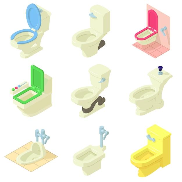 Conjunto de ícones de tigela de banheiro. ilustração isométrica de 9 ícones de vetor de vaso sanitário para web Vetor Premium