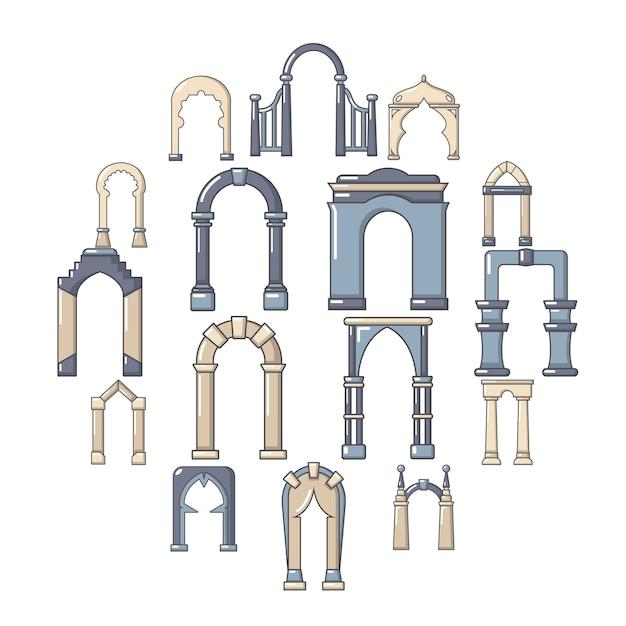 Conjunto de ícones de tipos de arco, estilo cartoon Vetor Premium