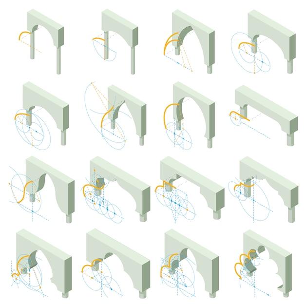 Conjunto de ícones de tipos de arco. ilustração isométrica de 16 tipos de arco vetor ícones para web Vetor Premium
