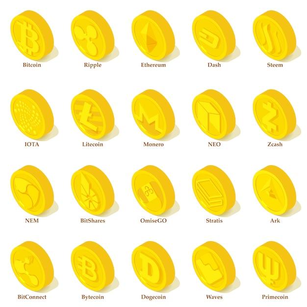 Conjunto de ícones de tipos de criptomoeda. ilustração isométrica de 25 tipos de criptomoeda vetor ícones para web Vetor Premium