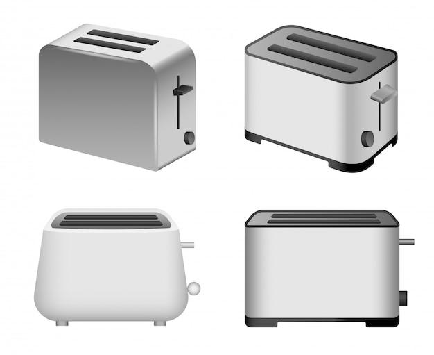 Conjunto de ícones de torradeira. realista conjunto de ícones de vetor de torradeira para web design isolado no fundo branco Vetor Premium
