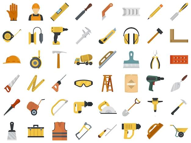 Conjunto de ícones de trabalhador de alvenaria Vetor Premium