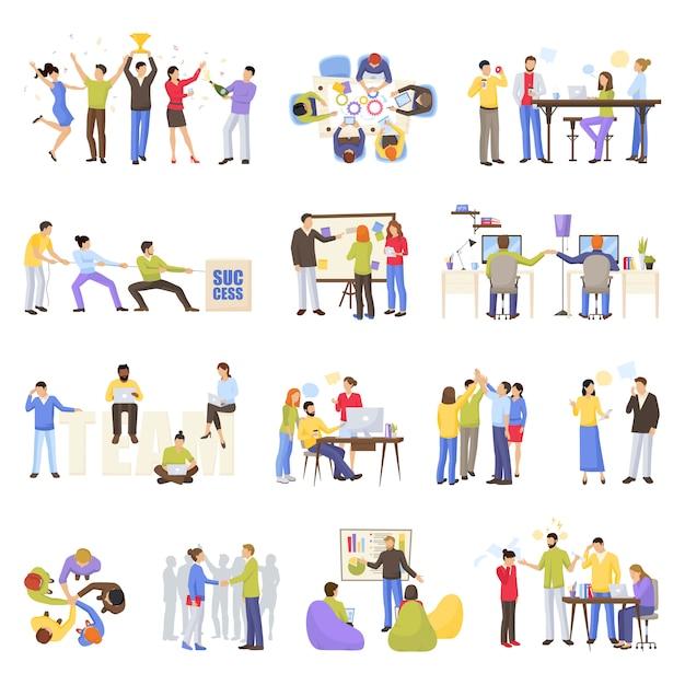 Conjunto de ícones de trabalho em equipe Vetor grátis