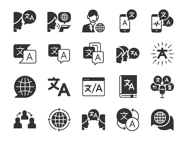 Conjunto de ícones de tradução. Vetor Premium