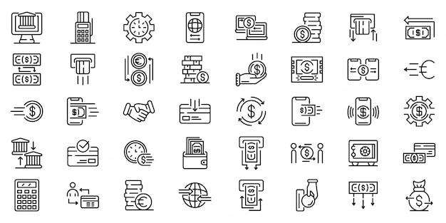 Conjunto de ícones de transferência de dinheiro, estilo de estrutura de tópicos Vetor Premium