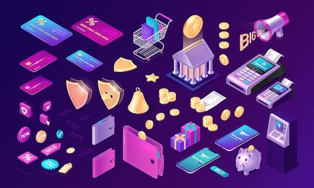 Conjunto de ícones de transferência de dinheiro Vetor grátis
