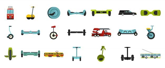 Conjunto de ícones de transporte da cidade. plano conjunto de coleção de ícones de vetor de transporte cidade isolada Vetor Premium