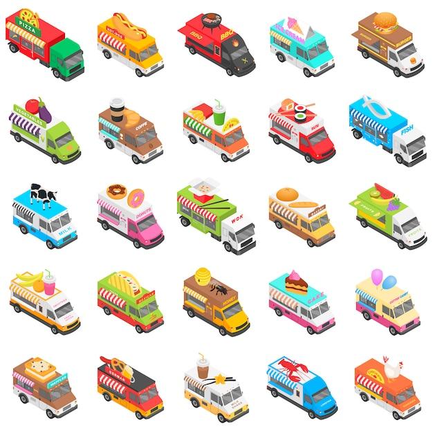Conjunto de ícones de transporte de caminhão de comida, estilo isométrico Vetor Premium