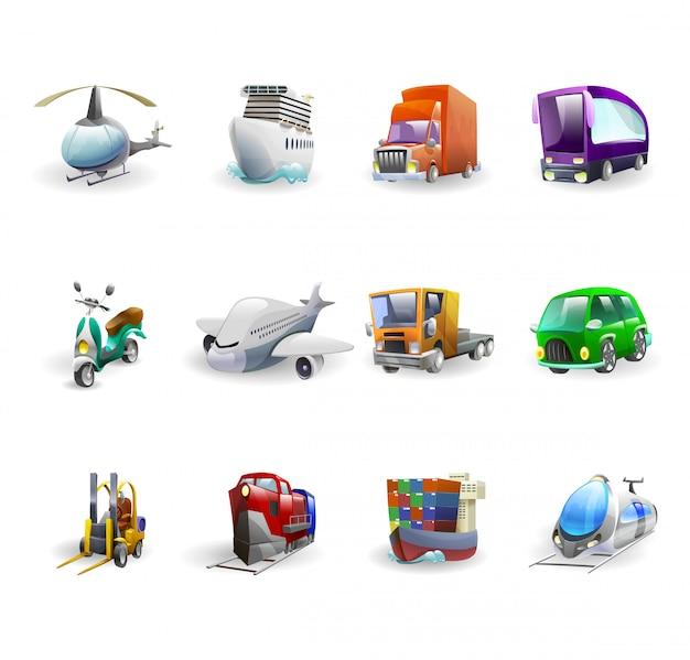 Conjunto de ícones de transporte e entrega Vetor grátis