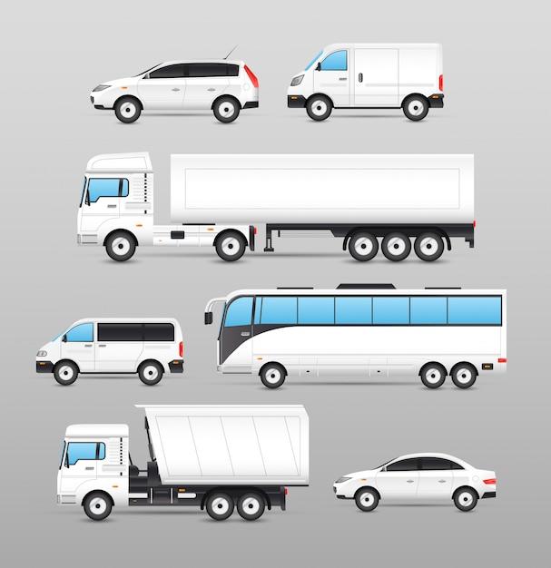 Conjunto de ícones de transporte realista Vetor grátis