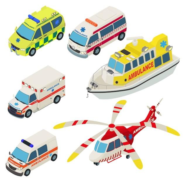 Conjunto de ícones de transporte urbano de ambulância. ilustração isométrica de 6 ícones de vetor de transporte urbano de ambulância para web Vetor Premium