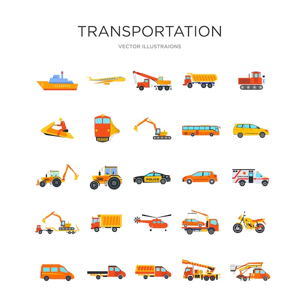 Conjunto de ícones de transporte Vetor grátis