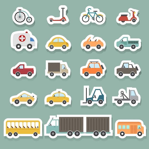 Conjunto de ícones de transporte Vetor Premium