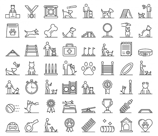 Conjunto de ícones de treinamento de cães, estilo de estrutura de tópicos Vetor Premium