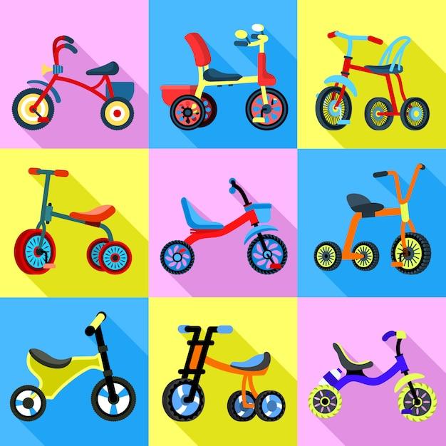 Conjunto de ícones de triciclo. conjunto plano de vetor de triciclo Vetor Premium