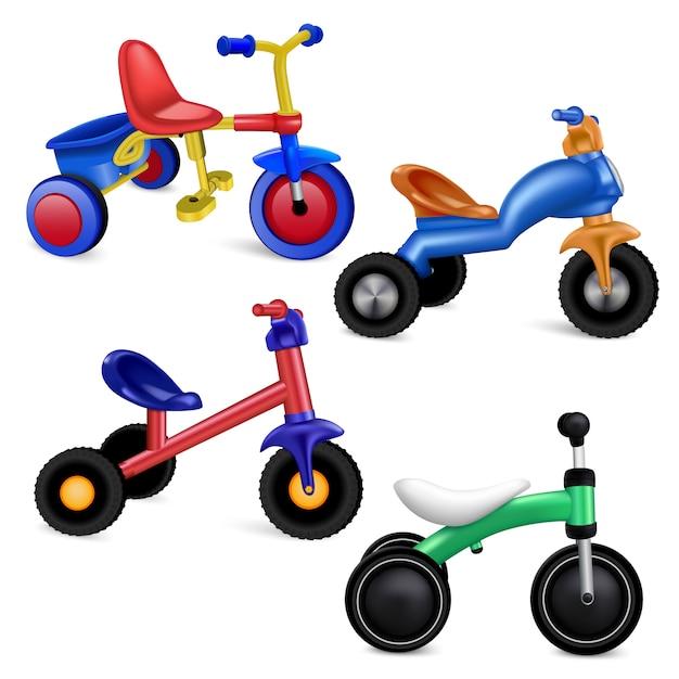 Conjunto de ícones de triciclo. conjunto realista de ícones do vetor de triciclo isolado Vetor Premium