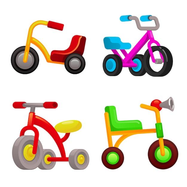 Conjunto de ícones de triciclo, estilo cartoon Vetor Premium