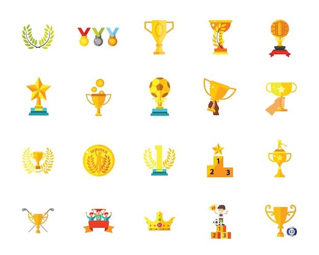 Conjunto de ícones de troféus Vetor grátis