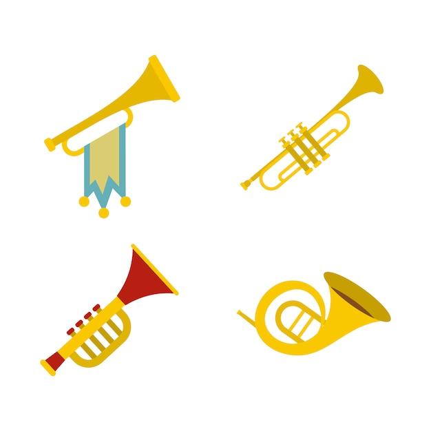 Conjunto de ícones de trompete. conjunto plano de coleção de ícones vetor trompete isolado Vetor Premium