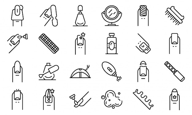 Conjunto de ícones de unhas, estilo de estrutura de tópicos Vetor Premium