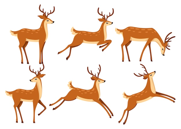 Conjunto de ícones de veado marrom. os cervos correm e saltam. mamíferos ruminantes com cascos. animal de desenho animado. lindo veado com chifres. ilustração em fundo branco Vetor Premium