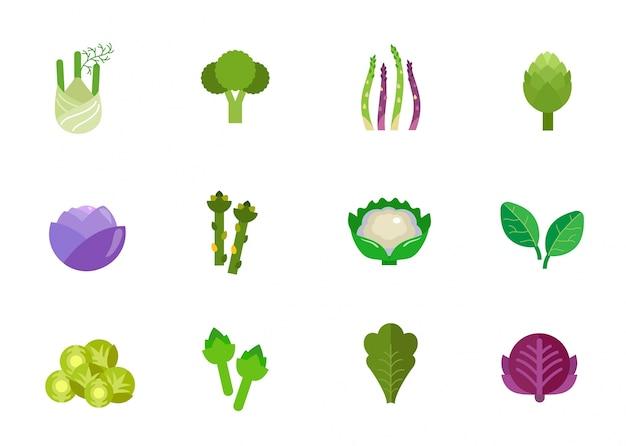 Conjunto de ícones de vegetais Vetor grátis