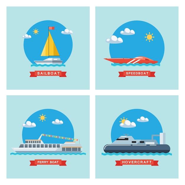 Conjunto de ícones de veleiro plana, barco, lancha e hovercraft. transporte marítimo. Vetor Premium